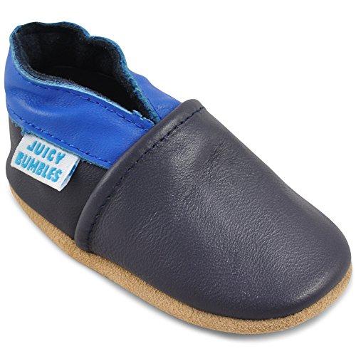 Juicy Bumbles - Weicher Leder Lauflernschuhe Krabbelschuhe Babyhausschuhe mit Wildledersohlen. Junge Mädchen Kleinkind- Gr. 12-18 Monate (Größe 22/23)- Blau und Marineblau