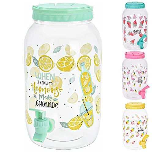 Murago - Getränkespender mit Zapfhahn ca. 3,7 Liter Mint Wasserspender Saftspender Kunststoff Zitronen Motiv für Kinder Plastik