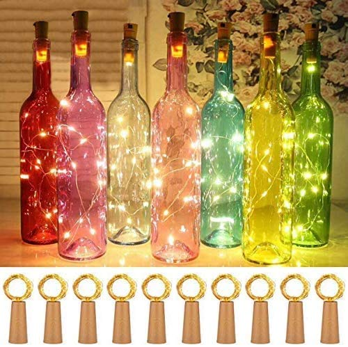 15 Stück LED Flaschenlicht with 50pack Batterry, 20 LEDs 2M Kupferdraht Weinflasche Lichter, mit Kork Schnurlicht Kupferdraht für DIY Deko Weihnachten Party Urlaub,...
