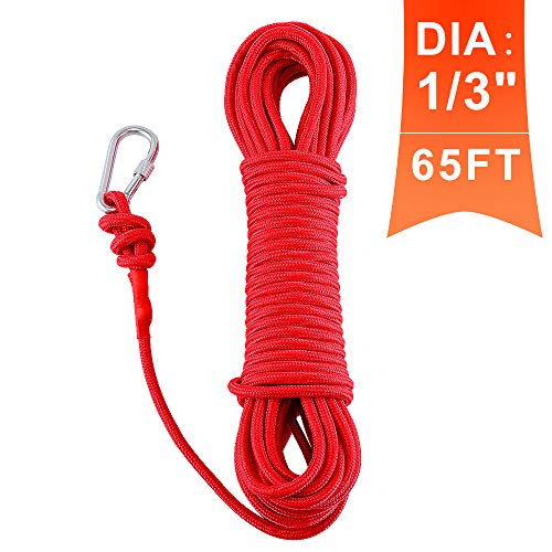 MHDMAG Magnet Fishing Rope, Carabiner Braid Rope, Nylon Rope with Steel Wire Core for Commercial, Anchor, Clothesline, Boat Anchor, Crafting, Blocking, Pulling, Draging, Cargo, Tying (red-8mm(Dia))