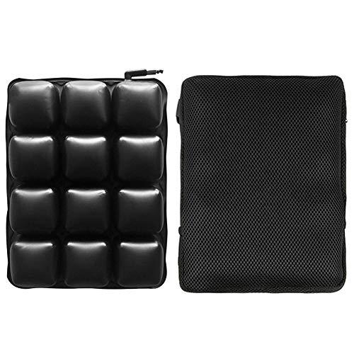 CojíN De Asiento De Moto Cojín de asiento de aire de la motocicleta Transpirable cómoda para la almohadilla de asiento inflable para el coche de la motocicleta (Color : Black)
