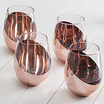 Luxury Modern Copper Stemless Wine Glasses