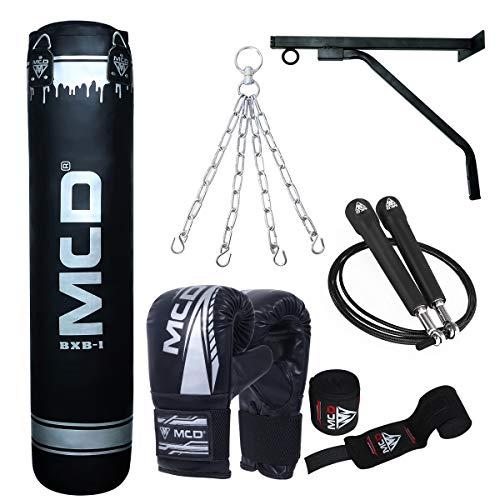 MCD SPORTS Ungefüllt Boxsack Erwachsene Set Hängend Boxing Bag Handschuhen, Handwickel Ideal für MMA, Kampfsport, Kickboxen Punching Bag (4FT, Schwarz)