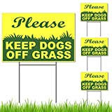 4PCs Keep Dogs Off Grass Sign with Stake - Plastic 6x9 Please Keep Off Grass Sign - Curb Your Dog Sign - No Dogs Allowed Sign - Keep Dogs Off Sign - Keep Dog Off Lawn - No Pet Waste Sign - Pet Signs