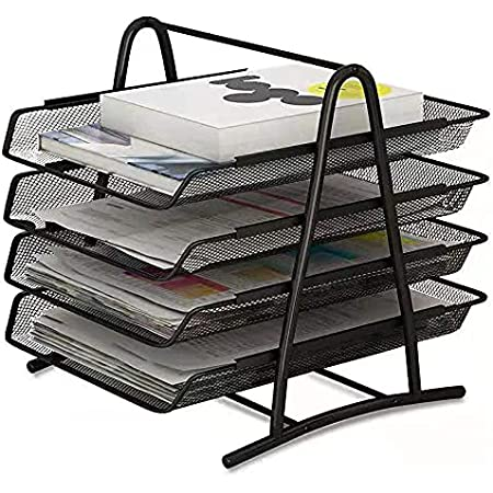 4-Trays Document Tray, Desktop File Organizer with Paper Letter Tray, Mesh Office Supplies File Storage And Desk Organizer for Home Office (Black)