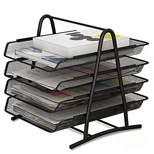 IOUGDSEC - Banqueta de almacenamiento para escritorio, bandeja de correo para escritorio, de metal, de cajón deslizante a 4 niveles, ideal para la oficina de la escuela en el hogar