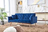 Aiscool Velvet Sofa Modern Convertible Futon Sofa Bed Recliner Couch Accent Sofa Loveseat Sofa with Rose Gold Metal Feet (60 Navy Blue)