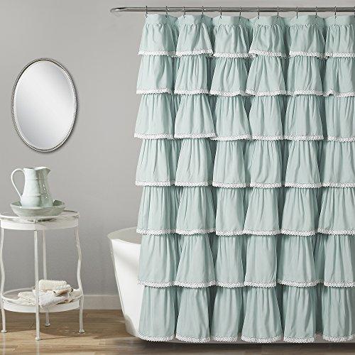 """Lush Decor Lace Ruffle Shower Curtain, 72"""" x 72"""", Blue"""