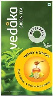 Amazon Brand - Vedaka Green Tea, Lemon and Honey, 100 Bags