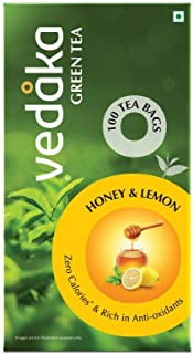 Amazon Brand – Vedaka Green Tea, Lemon and Honey, 100 Bags