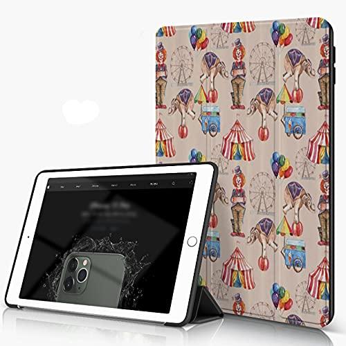 Carcasa para iPad 10.2 Inch, iPad Air 7.ª Generación ,Rueda de la fortuna infantil acuarela arte de circo carpa elefante payaso y globos,incluye soporte magnético y funda para dormir/despertar