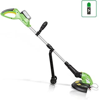SereneLife Cordless Trimmer Weed Whacker - Electric Grass Edger String Trimmer with 18V Rechargeable Battery, Replaceable String Cutter Blades (PSLCGM25)