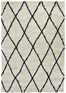 149885baec3 Asma Tapis de Salon Shaggy - Style berbere - 150 x 220 cm - Beige Creme