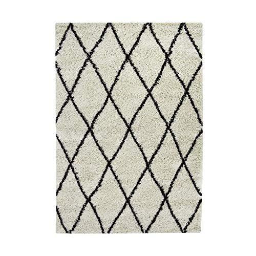 ASMA Tapis de salon Shaggy - Style berbere - 150 x 220 cm - Beige crem