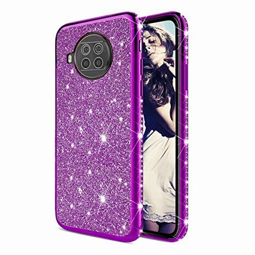TYWZ Strass Hülle für Xiaomi Mi 10T Lite,Glitzer Diamant Glanz Bling Mädchen Case Cover Ultra-Slim Stoßfeste Anti-Rutsch Silikon Schutzhülle-Lila