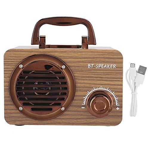 Altavoz Bluetooth Retro, Altavoz Bluetooth Inalámbrico Vintage de Madera, Caja de Altavoz para Computadora Inteligente Portátil para Exteriores, Material de Madera, Robusto, Duradero y de Larga Vida d