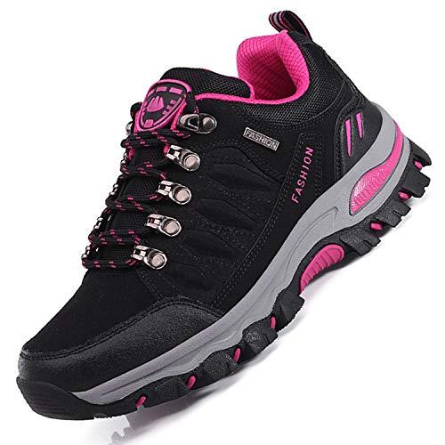 Unitysow Wanderschuhe Trekking Schuhe Herren Damen Sports Outdoor Hiking Sneaker Atmungsaktiv Turnschuhe Walking Wandern Anti-Rutsch Schuhe für Unisex Gr.35-47,Schwarzes Rose Rot-1,Gr.40
