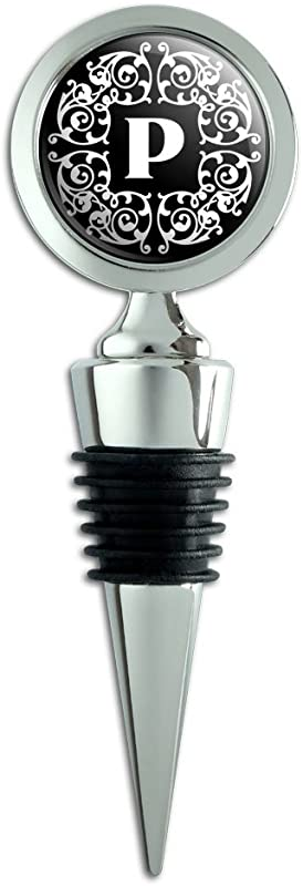 Letter P Initial Black White Scrolls Wine Bottle Stopper