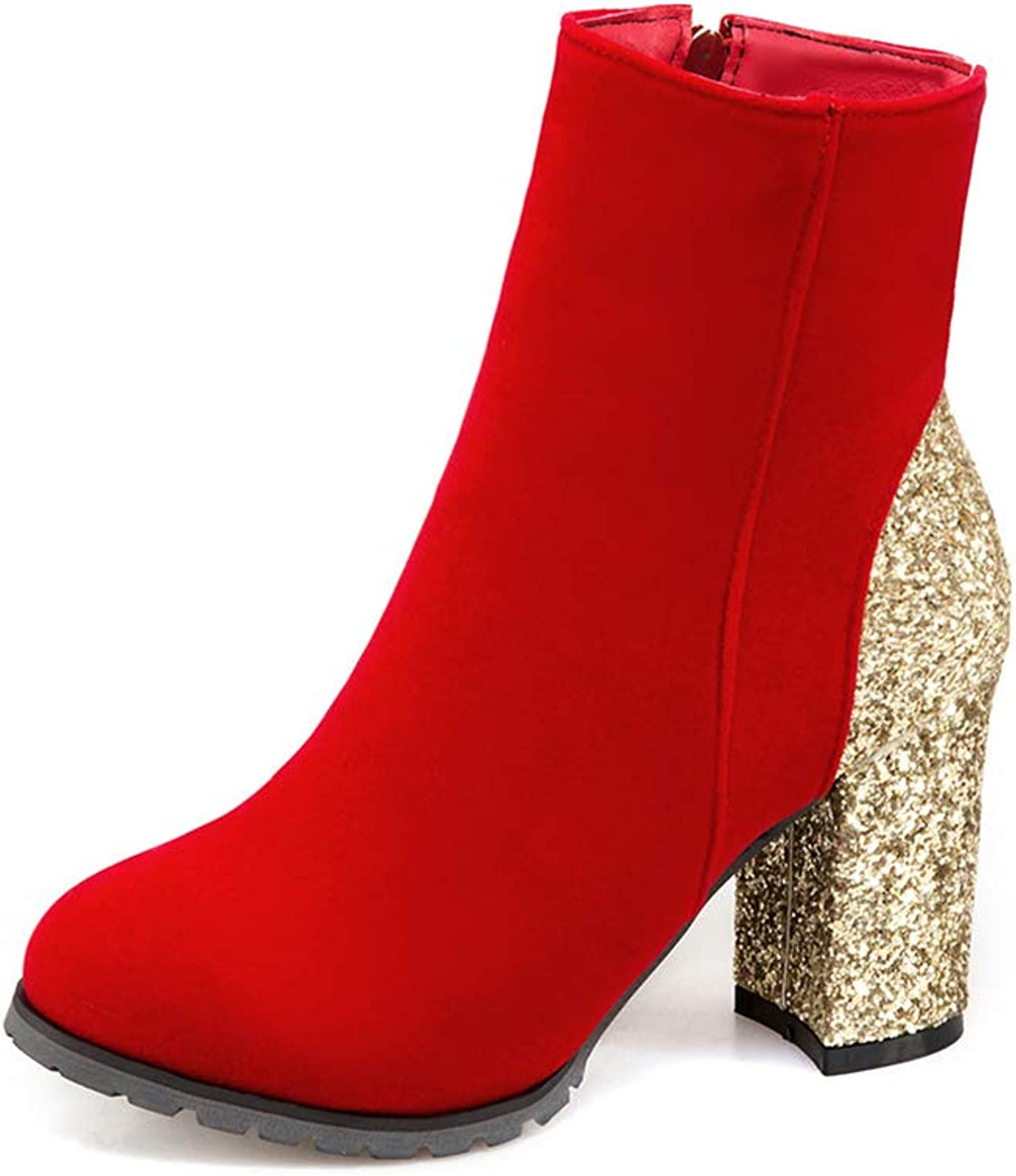 Btrada Women Chunky Ankle Boots Round Toe Side Zipper Sequins Square Heel Short Boot Wedding Party Booties