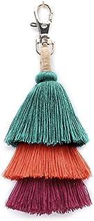 BRUCEWANG Pom Pom Tassel Colorful Bohemian Handbag Charms Key Chain Cotton Tassel Fashion Accessories for Women
