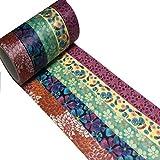 Meiwash Cinta adhesiva de Washi decorativo Conjunto de patrones múltiples de Washi Scrapbooking decoración de la cinta de la cinta de bala en el diario para los regalos de bricolaje Ar
