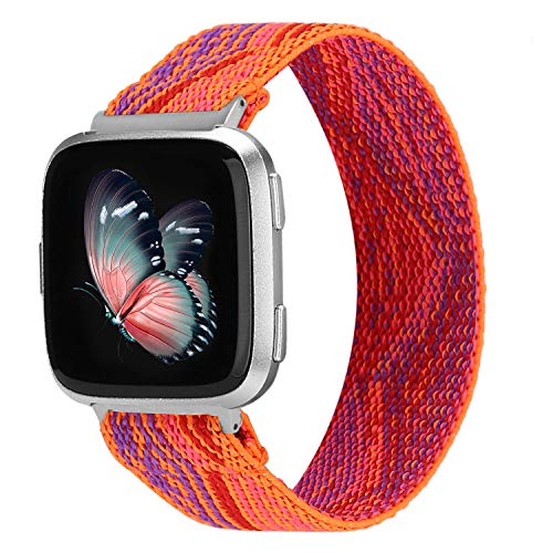 TOYOUTHS Elastic Band Compatible with Fitbit Versa/Versa 2 Scrunchie Bands Fabric Nylon Sport Stretchy Strap Fashion Versa Lite Special Edition Wristband Women Men (Boho Orange, Large)