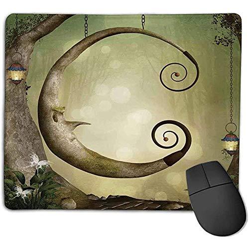 Muismat cartoon bos geheime schommel leeftijd boom krullende halve maan lampen vlinders lichten kaki lichtbruin smoot