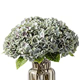 Kimura's Cabin Fake Flowers Vintage Artificial Silk Hydrangea Flowers Bouquets 5 Heads for Home Wedding Party Decoration (Grey Green)