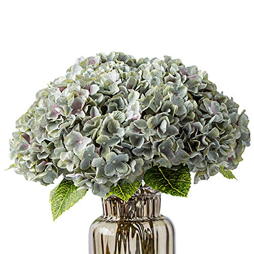 Fake Flowers Vintage Artificial Silk Hydrangea Flowers Bouquets 5 Heads for Home Wedding Party Decoration (Grey Green)