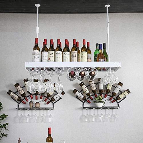 HTTJJ Pared Estante del Vino fortificado |Colgando Estante del Vino del Metal |Soporte 4 de Vidrio con asa y corchos de Vino Almacenamiento a Largo |Vino o Botella de Licor Titular 8JJ88