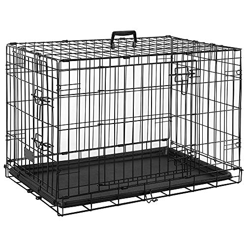 Pet Vida Pet Cage With Tray, Folding Dog Puppy Animal Crate Vet Car Training Carrier Metal, 36 Inch