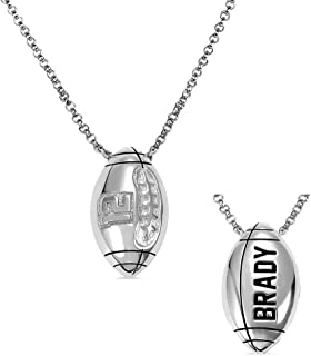 Sponsored Ad - AILIN Custom Football Necklace 925 Sterling Silver Personalized Lucky Number Name Pendant Chain Sport Fans ...