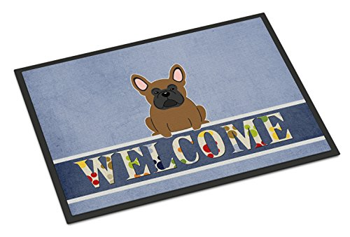Caroline's Treasures BB5594MAT French Bulldog Brown Welcome Indoor or Outdoor Mat 18x27, 18H X 27W, Multicolor