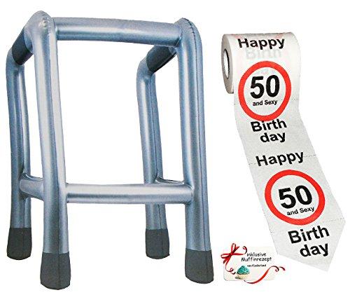 alles-meine.de GmbH 2 TLG. Set: __ Gehhilfe - ( Aufblasbar ) + Toilettenpapier Rolle -  50. Geburtstag / fünfzig und Sexy - Happy Birthday  - lustiger Partyartikel - für  alte..