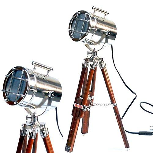 Vintage foco trípode cromo/acabado en plata y marrón mesa [Clase de eficiencia energética A+]