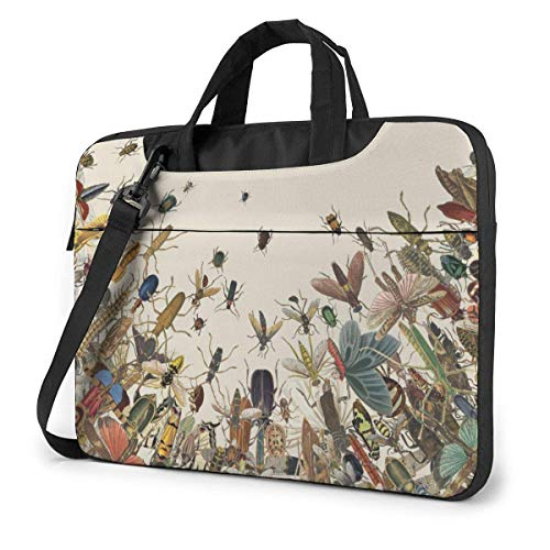 15.6″Lightweight Laptop Notebook Shoulder Backpack Bag Colorful Insects Animal Waterproof PC Briefcase Messenger with Strap