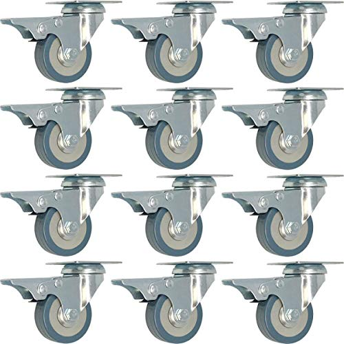 Y&Y Decor 12 Pack 2-Inch Caster Wheels with Total Brake Swivel Plate Casters Grey Polyurethane Wheels