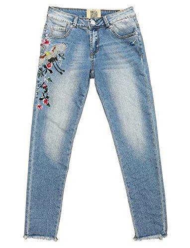 Wiya Damen Stretch Jeans Hose Reißverschluss Freizeithose DY329 (S)
