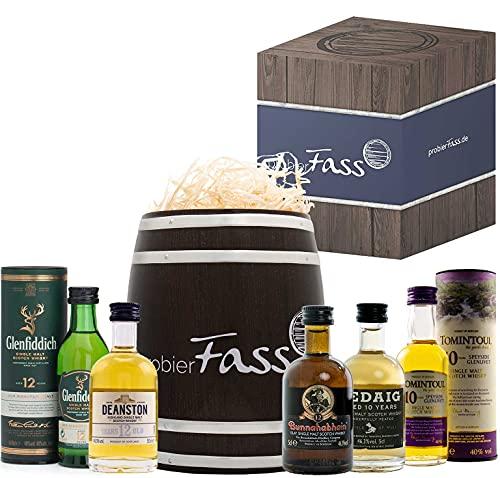 Männer-Geschenk | 5 x 50ml Whisky Single Malt Topseller | verpackt in einem edlen Fass