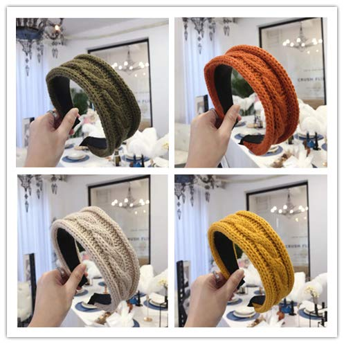 Filles Cheveux Accessoires Hiver Doux Rayé Tricoté Chapeaux Femmes Classique Chaud Bandeau 4pcs