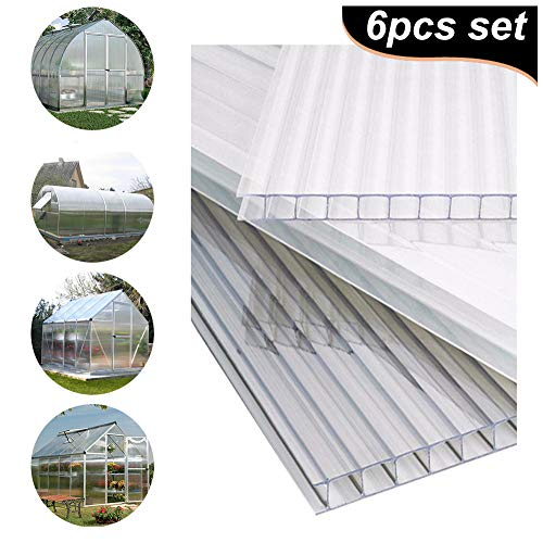 The Fellie Polycarbonate Greenhouse Sheets Poly Plastic Roof Panel 6pcs for Outdoor Canopy Carport Cold Frame Replacement Shed Panel, 610x1220x4mm-Clear