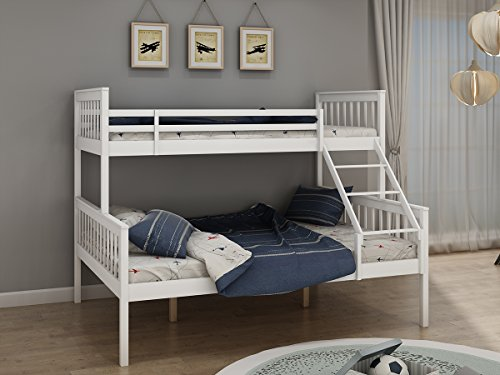 Kid's Bunk Bed 3FT Single 4FT6 Double Wooden Pine Frame Triple Sleeper Bed for Children's Teenagers Adult Bedroom Furniture Guest Room in White