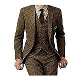 Men's Tweed Herringbone Tan Tuxedos Groom Slim Fit Formal Vintage 3 Pieces Suit