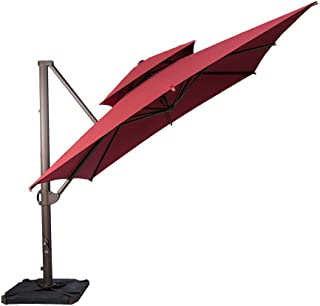 SORARA 10 by 10 ft Square Offset Cantilever Umbrella Patio Hanging Umbrella with Dual Wind Vent, Cross Base & 4 pcs Base Weight and Umbrella Cover, Jockey Red