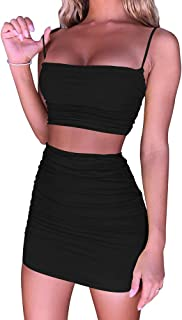 Women's Ruched Cami Crop Top Bodycon Skirt 2 Piece...