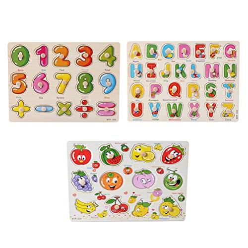 Toyvian Puzzle Numeri e Alfabeto di Legno Puzzle Frutta Legno Gioco incastri Legno Giochi Matematica Giocattoli educativi Legno per Bambini 3 Pezzi