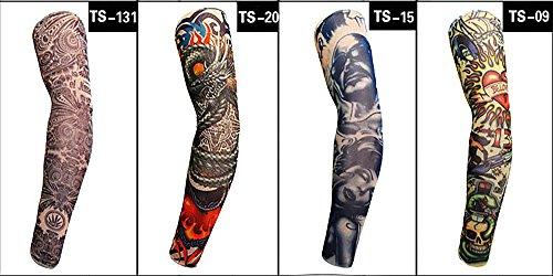 4 pcs Tatouage Temporaire Bras manches Arts Faux Slip on Bras de crème solaire manches Art corporel Bas Protector – Designs Tribal, tigre, Dragon, tête de mort, et etc. Unisexe extensible Cosplay Accessoires (Motif 5)