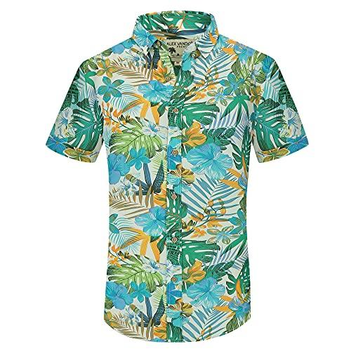 Alex Vando Mens Casual Button Down Hawaiian Shirts Short Sleeve Beach Shirt,White Leaf,XL