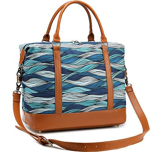 CAMTOP Travel Beach Tote Womens Beach Bag Canvas Weekender Overnight Carry-on Duffel Tote (Blue-Ocean Wave)