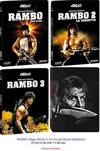 RAMBO Saga (4Kult) (1+2+3+Last Blood Steelbook) (4 Film) (4 4K UHD + 4 Blu-ray)